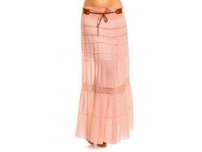 Sukně letní jemně růžová s páskem HS545