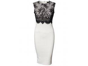 Elegantní pouzdrové šaty s krajkou bílé OH502