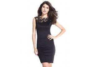 Pouzdrové společenské šaty, černé krátké DL644