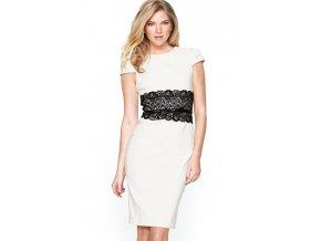 Elegantní pouzdrové šaty s krajkou bílé 221