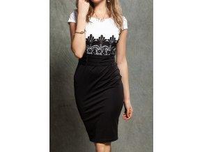 Elegantní pouzdrové šaty s krajkou bílé OH685