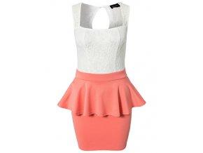 Peplum šaty meruňkové s krajkou OH716