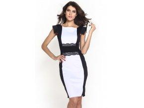 Elegantní pouzdrové šaty s krajkou bílé OH343