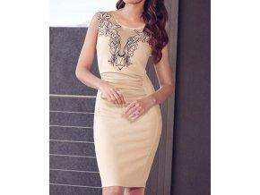 Elegantní pouzdrové šaty s výšivkou krémové OH82