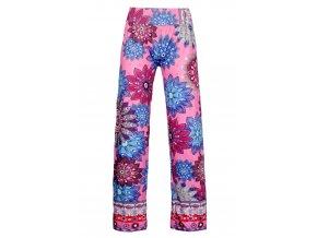 Dámské vzorované kalhoty růžové