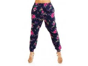 Letní bavlněné kalhoty vzorované Uni květy