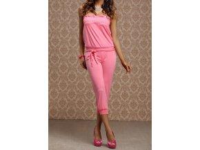 Luxusní dámský overal s řasením růžový LM moda