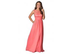 Lososové šifonové šaty dlouhé s krajkou 84-4