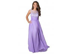 Šaty dlouhé fialové s krajkou 84-5