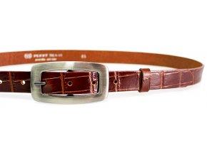 Kožený pásek dámský krokodýl 25-170-K40 hnědý