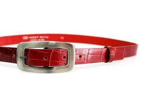 Kožený pásek dámský krokodýl 25-170-K40 červený