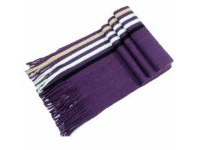 Pánská šála pruhovaná fialová