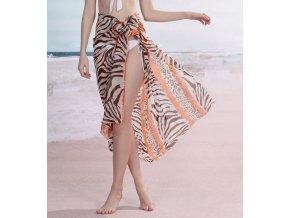 Sarong šátek na pláž 115 krémový oranžový zebra
