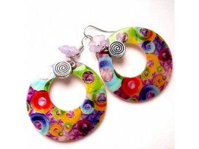 Náušnice kruhy s kruhy perleťové