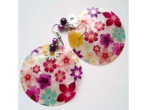 Náušnice kruhy květinové perleťové