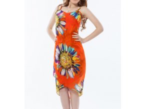 Plážové zavinovací šaty s květy oranžové