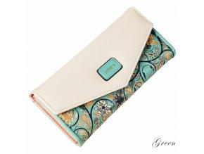Dámská peněženka s květinovým motivem světle zelená
