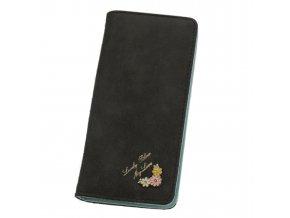 Dámská peněženka černá s kytičkou