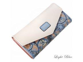 Dámská peněženka s květinovým motivem světle modrá