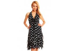 Letní šaty černé s puntíky