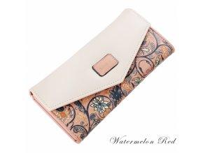 Dámská peněženka s květinovým motivem růžová