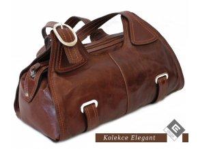 Elega dámská kožená kabelka - hnědá