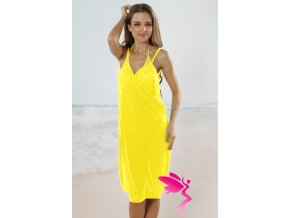 Sexy Stylish Cross Front Beach Cover up Yellow LC40451 4 2