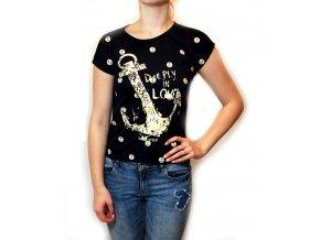 Letní tričko s kotvou černé 35-3