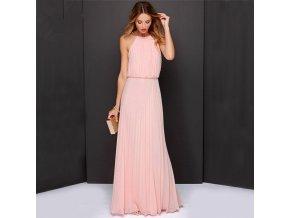 Dlouhé letní šaty růžové šifon antický styl 239
