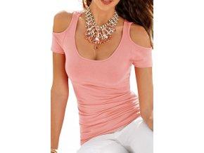pink scoop neck cold shoulder stylish t shirt lc25813 10