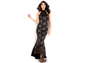 Sexy šaty s krajkou černo zlaté DL241