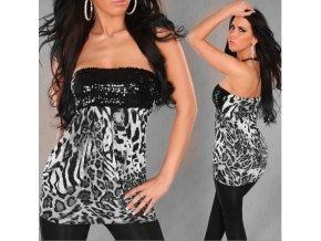 Minišaty nebo Top leopard šedá s flitry