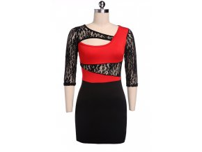 Sexy šaty krátké s krajkou červené 39-2