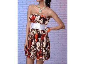 Letní šaty s květy světlé , balonová sukně