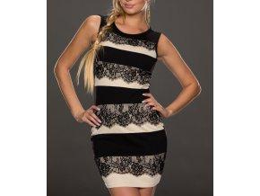 Elegantní šaty s krajkou béžovo černé OH7872
