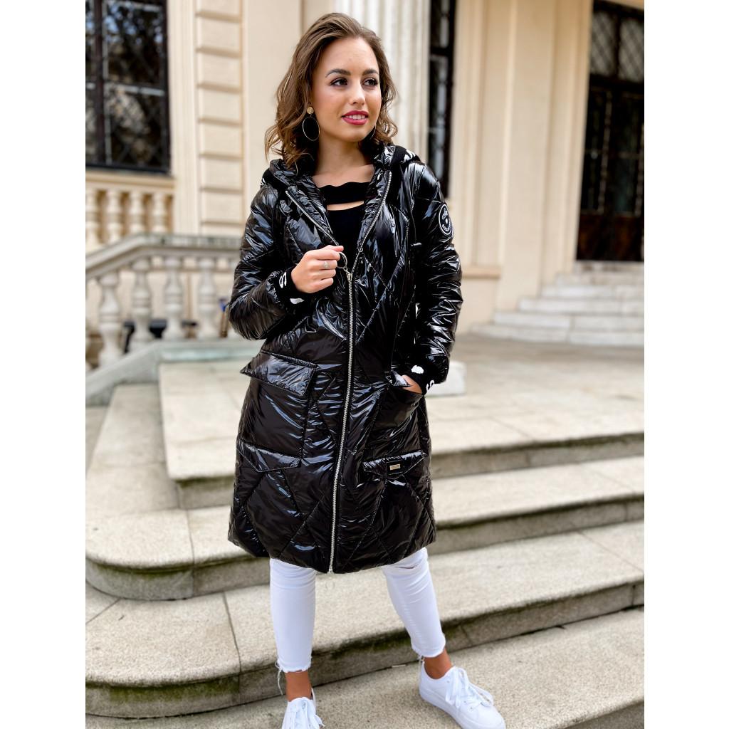 dlouhá zimní bunda po kolena s kapucí černá3 2
