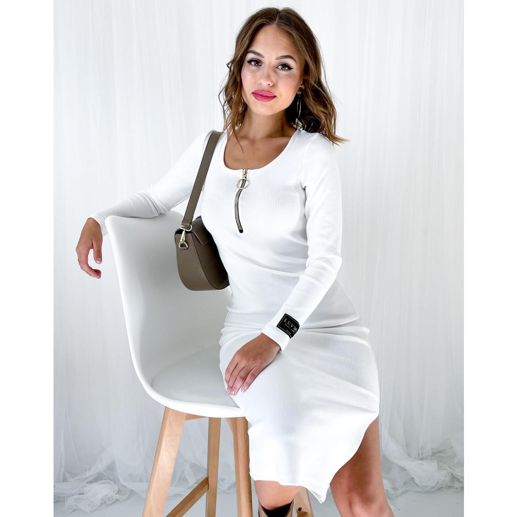 podzimní šaty bílé dámské1 2