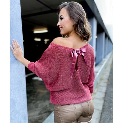 dámský svetr s mašlí cihlový 2