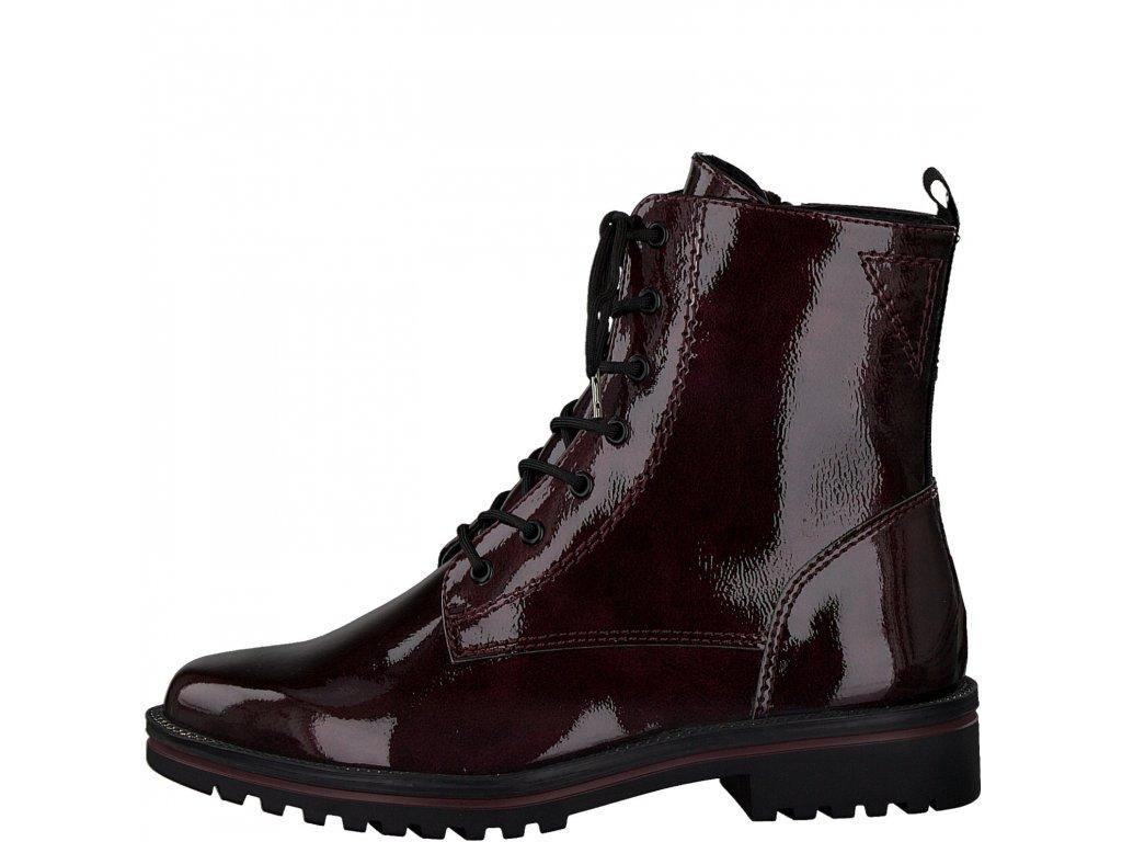 Dámské kotníkové boty TAMARIS, model 1-25209-25 580 bordeaux pat.