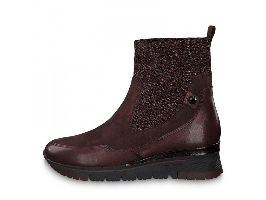 Dámské kotníkové boty TAMARIS, model 1-25409-23 549 bordeaux