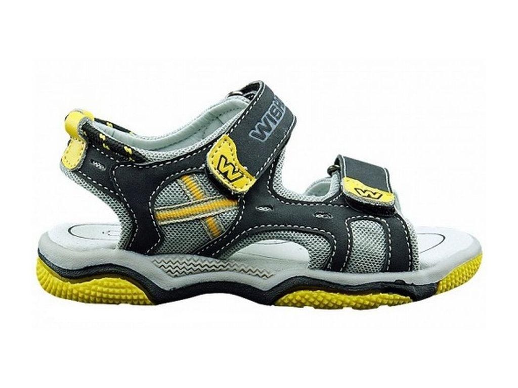 Letní sandále, sandálky WISHOT - černé v kombinaci se žlutou