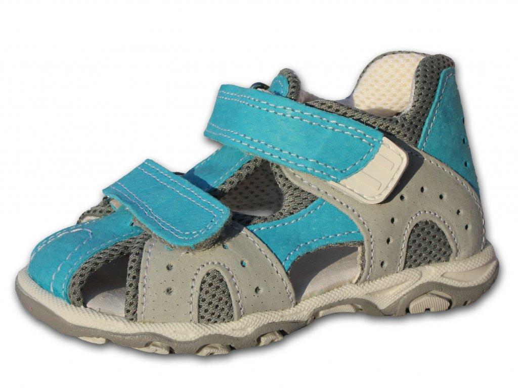Letní sandále, sandálky SANTÉ, model 810.3.01 - tyrkys+šedá, barva 80/15