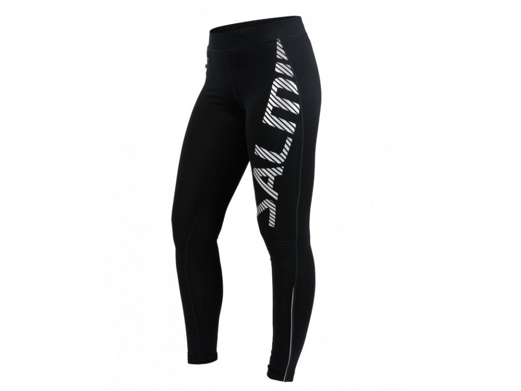 salming logo tights 20 women black silver reflective