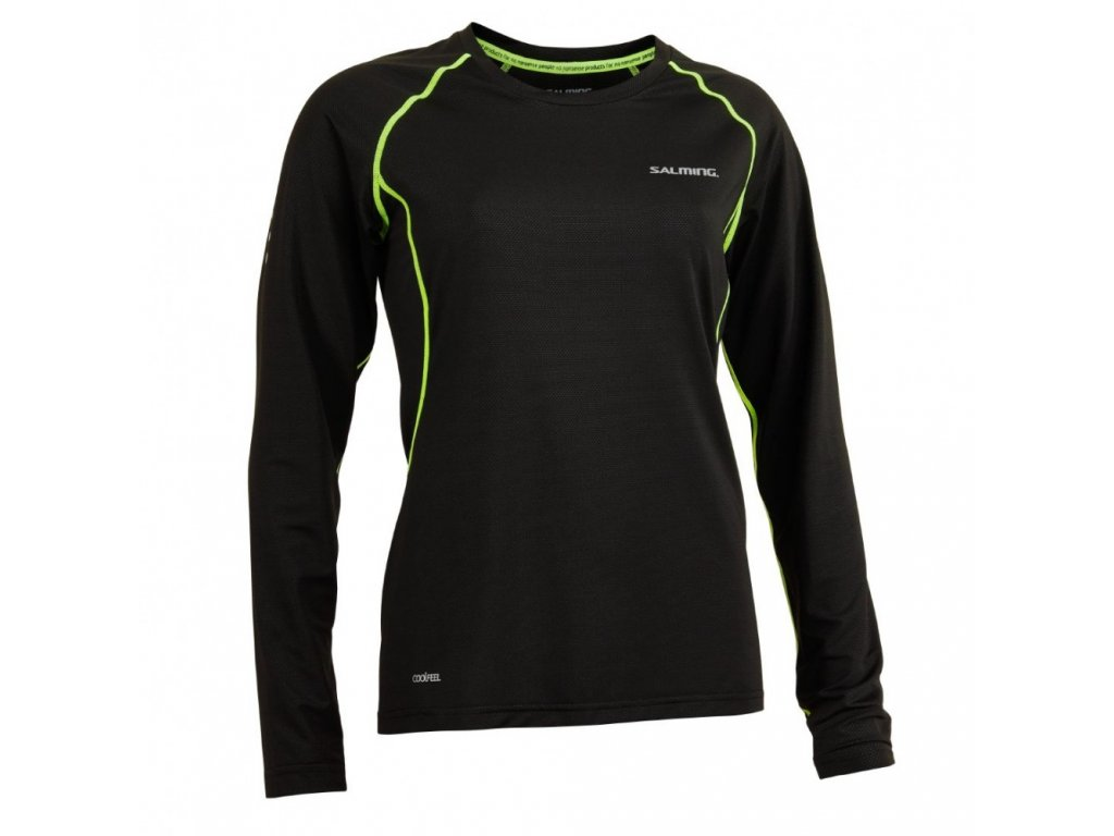 salming balance ls tee women black sharp lime