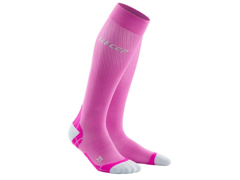 Běžecké podkolenky ULTRALIGHT dámské elektrická růžová / světle šedá II