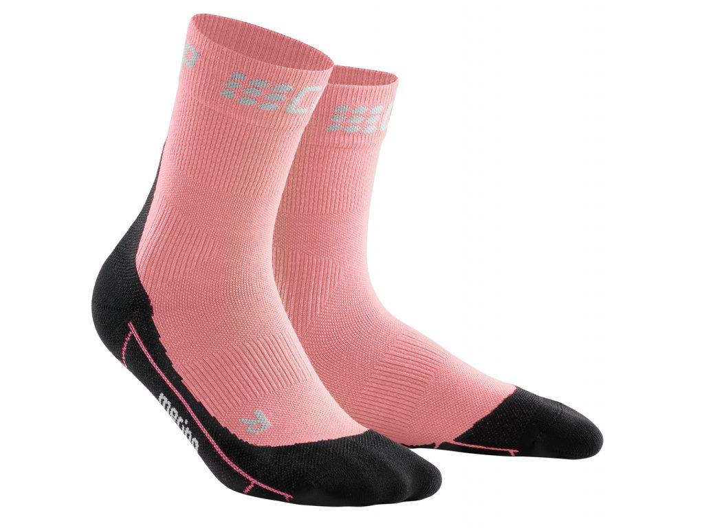 Krátké zimní běžecké ponožky dámské II světle růžová / černá