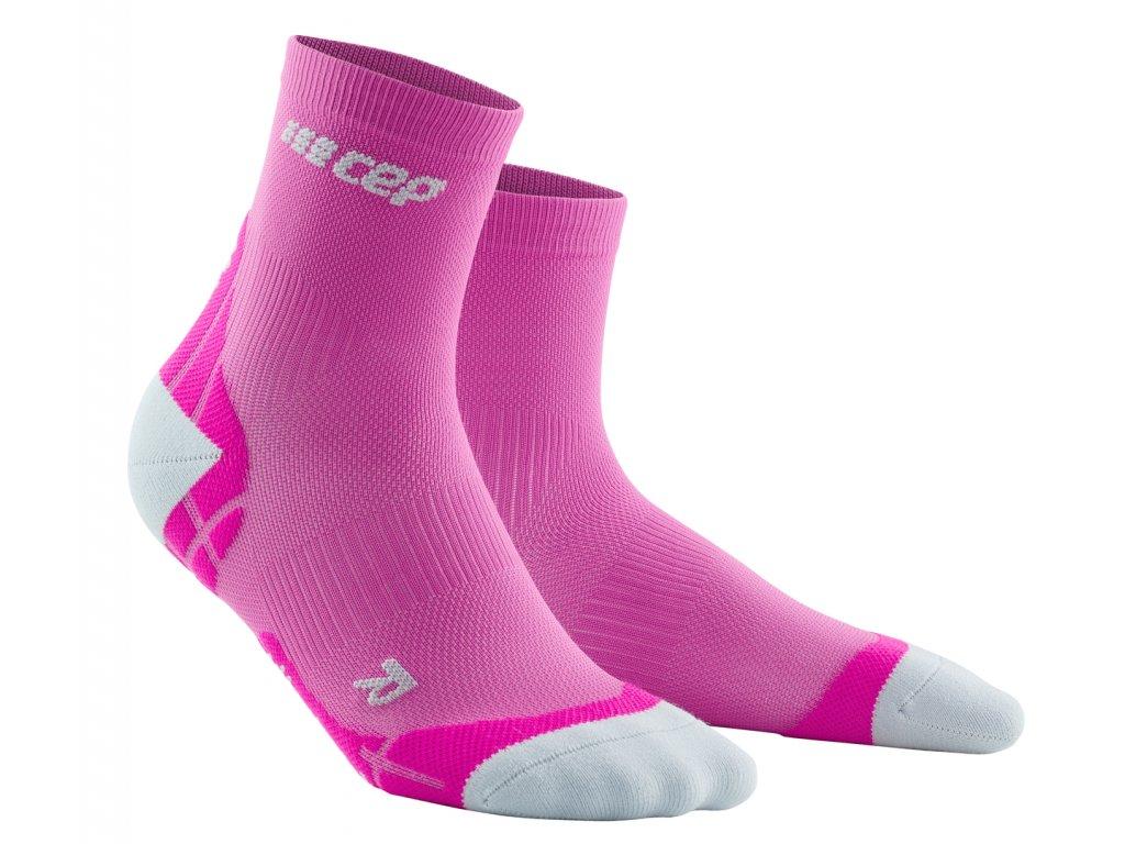 Krátké ponožky ULTRALIGHT dámské elektrická růžová / světle šedá II
