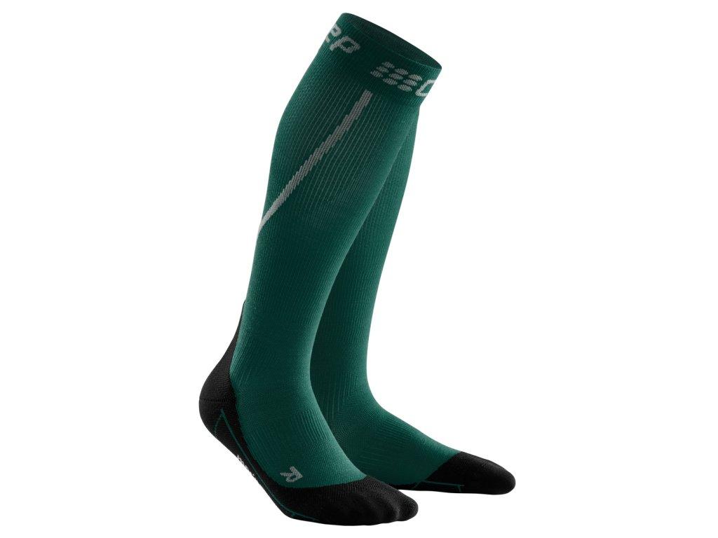 Zimní běžecké podkolenky pánské III zelená / černá