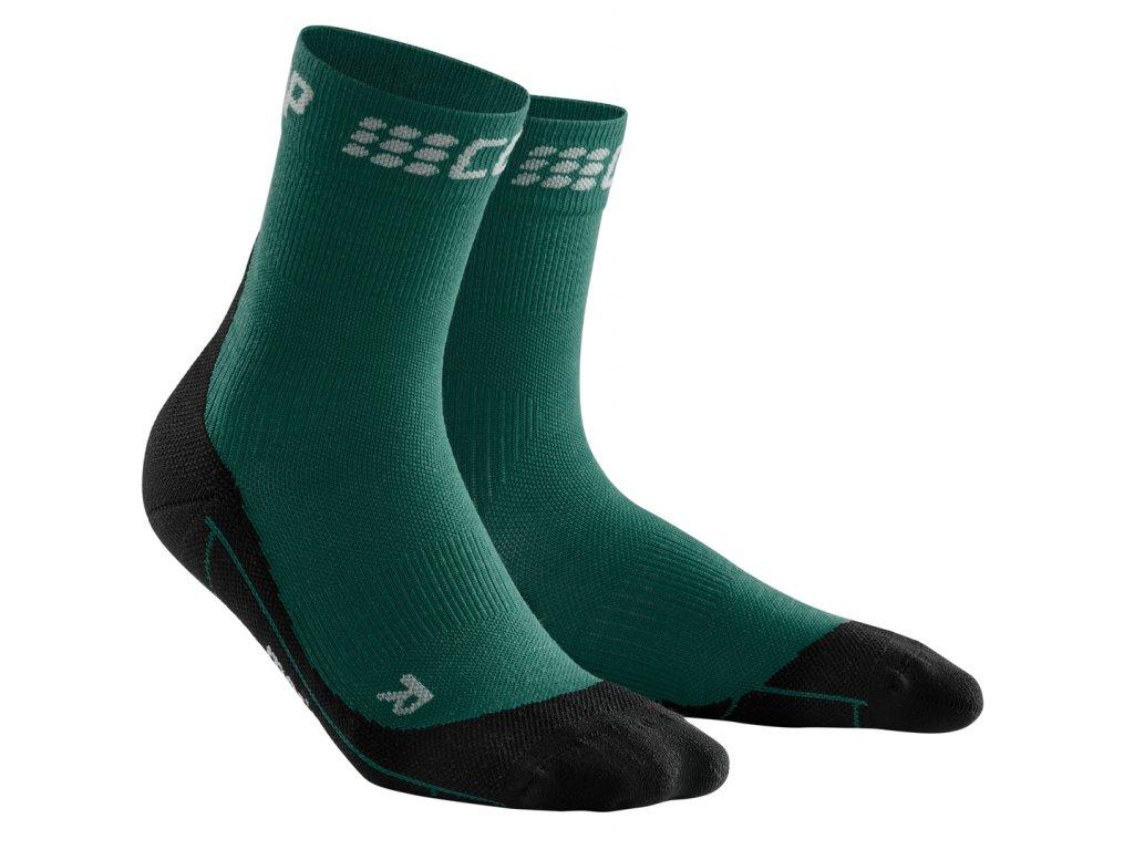 Krátké zimní běžecké ponožky pánské III zelená / černá