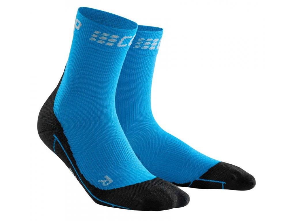 Krátké zimní běžecké ponožky pánské III elektrická modř / černá